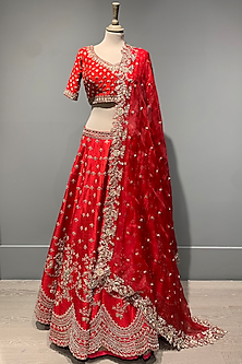 Red Scallop Lehenga Set by Anushree Reddy-POPULAR PRODUCTS AT STORE