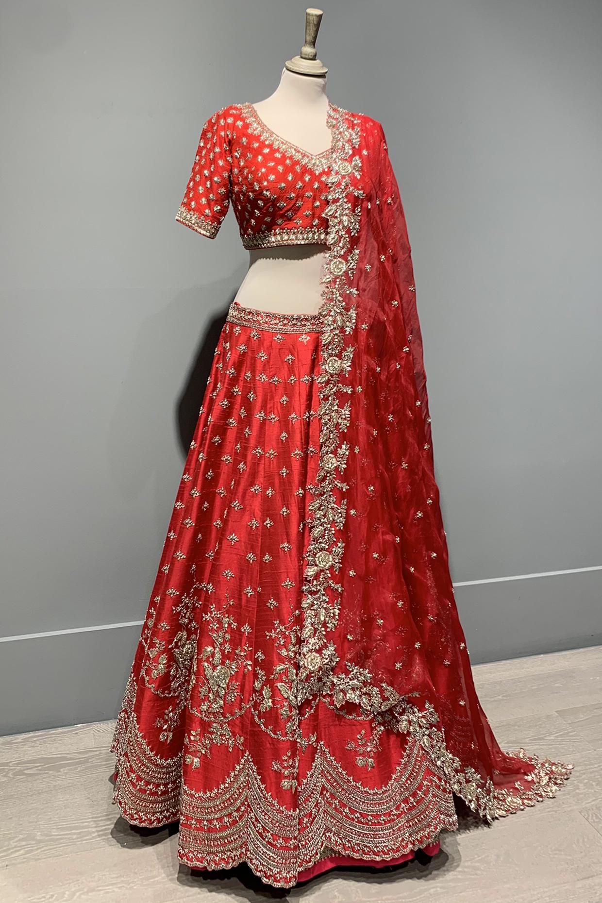 Red Scallop Lehenga Set by Anushree Reddy