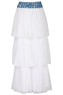 White and blue embroidered ruffle maxi skirt by Aruni