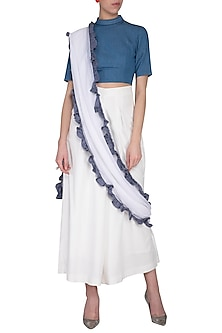 White and blue ruffle pant saree by Aruni