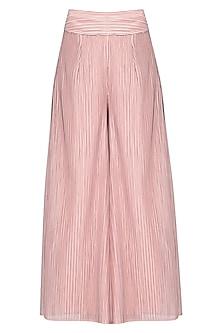 Pink pleated sharara pants by Aruni