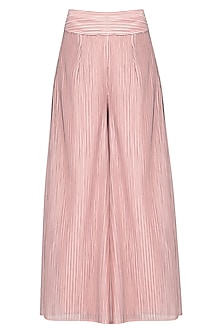 Pink pleated sharara pants by Aruni