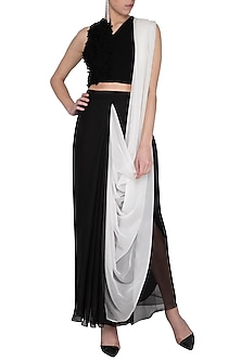 Black and white skirt saree by Aruni