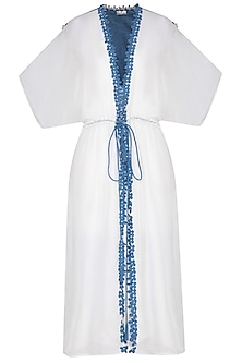White and blue embroidered trench coat by Aruni