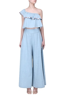 Sky Blue Mirror Work Ruffle Top by Aruni