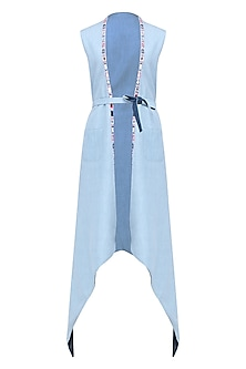 Sky Blue and Dark Blue Denim Reversible Trenchcoat by Aruni