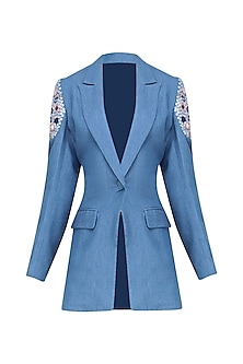 Medium Blue Mirrow Work Denim Blazer by Aruni