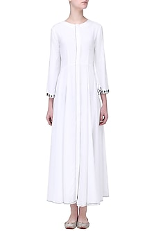 White Mirror Beaded Embroidered Tunic by Aruni