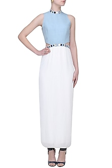 Sky Blue and White Mirror Embroidered Pleated Gown by Aruni