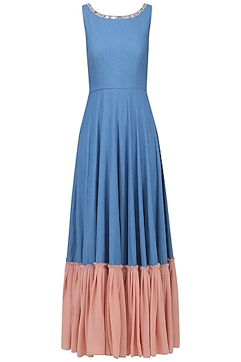 Medium Blue and Salmon Pink Gown by Aruni
