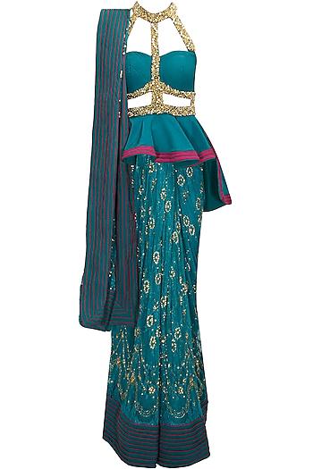 Teal beaded peplum blouse with drape sari by Anaikka