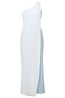 Light Blue Half Denim Side Pleated One Shoulder Jumpsuit by Aruni