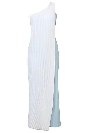 Light Blue Half Denim Side Pleated One Shoulder Jumpsuit by Aruni