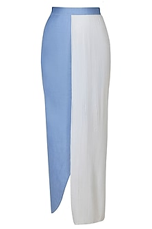 Blue And White Half Pleated Denim Wrap Around Skirt by Aruni