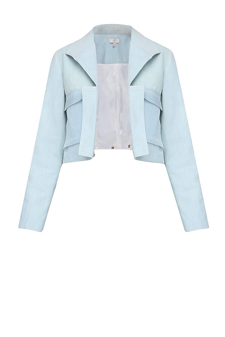 Powder Blue Washed Denim Jacket by Aruni