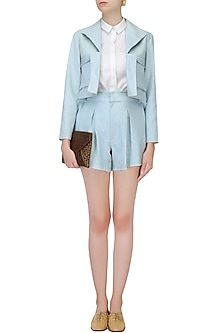 Powder Blue Washed Denim Jacket by Aruni