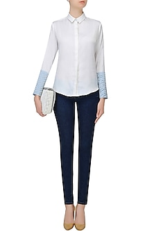 White Embroidered Convertible Shirt by Aruni