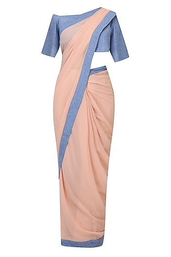 Salmon Pink And Denim Blue Pant Saree by Aruni