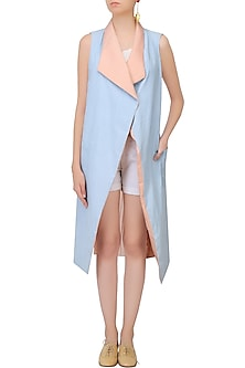 Light Blue And Salmon Pink Reversible Pleated Trench Coat by Aruni