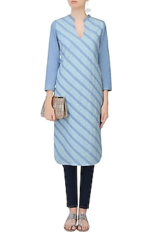 Blue Striped Denim Kurti by Aruni