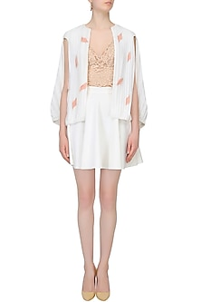 White Pleated Feather Cut Out Cape Jacket by Aruni