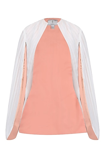 White Pleated Cape Jacket by Aruni