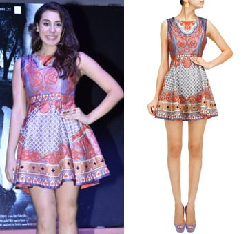 Multicolour printed and embroidered dress by Pankaj and Nidhi