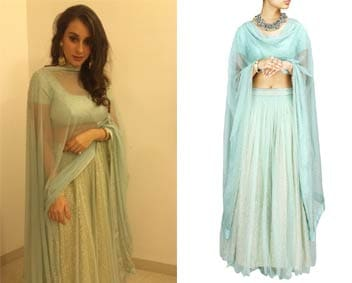 Light blue sequin sheeted lehenga set by Prathyusha Garimella