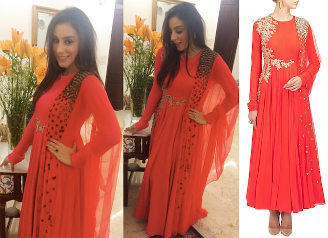 Neon coral embroidered kurta set by Ridhi Mehra