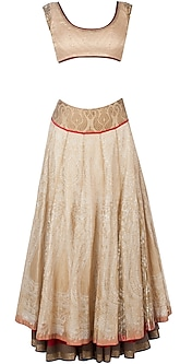 Gold tissue overlay lehenga sari by Anju Modi