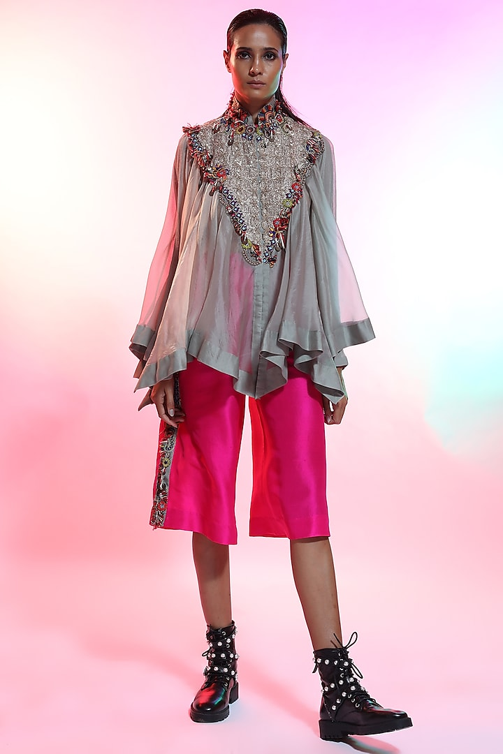 Grey Jaal Embroidered Tunic by Anamika Khanna