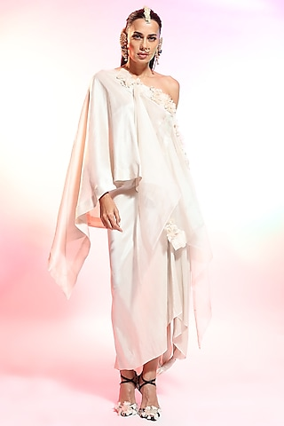 Off White Floral Printed Tunic With Sharara Pants by Anamika Khanna