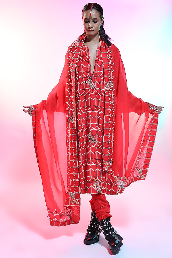Red Embroidered Kurta Set by Anamika Khanna