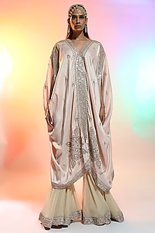 Baby Pink Silk Cape Set by Anamika Khanna