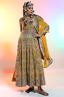 Mustard Embroidered Ghera Kurta Set by Anamika Khanna