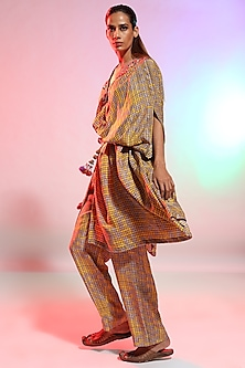 Mustard Printed Shirt Cape with Pyjama Pants by Anamika Khanna