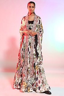 Multi Colored Printed Cape Set by Anamika Khanna