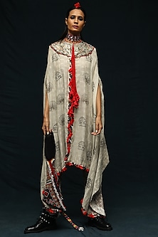 Off White Printed Long Capelet With Pants by Anamika Khanna