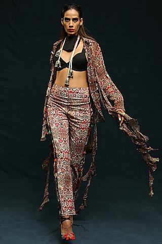 Multi Colored Printed Shirt With Pants by Anamika Khanna