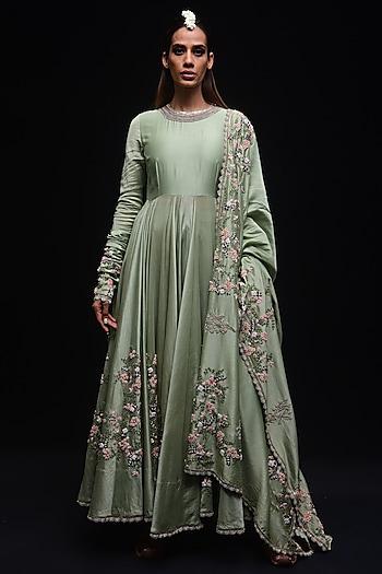 Sea Green Floral Ghera Kurta Set by Anamika Khanna