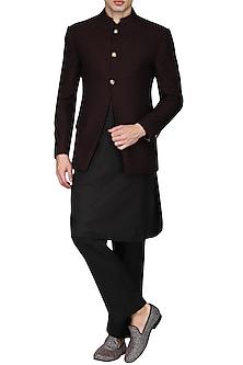 Maroon and Black Textured Bandhgala Jacket with Kurta and Pants by Anuj Madaan