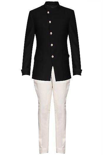 Black Textured Bandhgala Jacket with Ivory Pants by Anuj Madaan