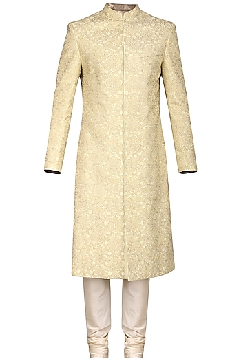 Ivory and Gold Embroidered Sherwani Set by Anuj Madaan