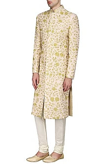 Peach and Ivory Embroidered Sherwani Set by Anuj Madaan