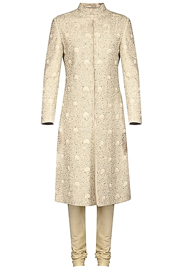 Ivory Thread Embroidered Sherwani Set by Anuj Madaan