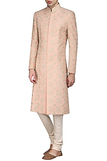 Peach and Light Gold Embroidered Sherwani Set by Anuj Madaan