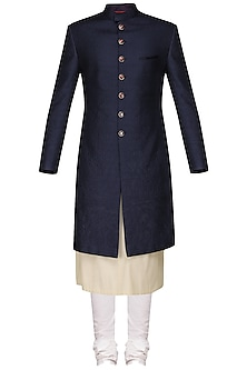 Navy Blue Quilted Sherwani with Ivory Kurta and Churidar Pants by Anuj Madaan