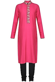 Fucshia Pink Embroidered Kurta with Black Churidar Pants by Anuj Madaan