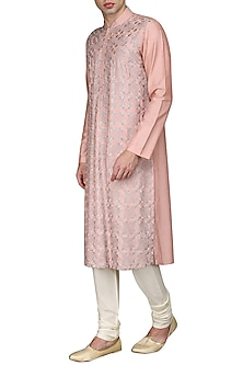 Peach Jaal Work Kurta with Ivory Churidar Pants by Anuj Madaan