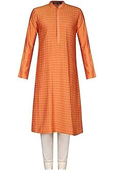 Orange Pintucks Kurta with Ivory Churidar Pants by Anuj Madaan
